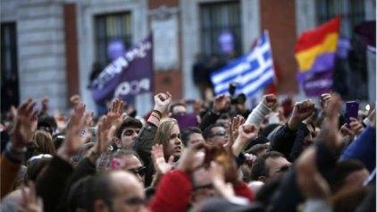 Ελληνικές σημαίες στους δρόμους της Μαδρίτης