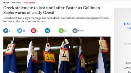 Telegraph: Η ζημιά έχει ήδη γίνει στην Ελλάδα λέει με γράμμα στους πελάτες της η Goldman Sachs