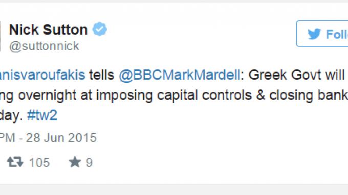 Βαρουφάκης στο BBC: Εξετάζουμε capital controls από απόψε και κλειστές τράπεζες αύριο